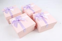 Набор одиночных подарочных коробок из 4 шт- Квадрат персик   К521