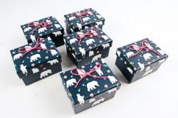 Набор одиночных подарочных коробок из 6 шт-  Прямоугольник Белые медведи на черном К522