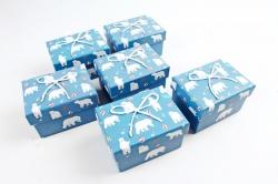 Набор одиночных подарочных коробок из 6 шт-  Прямоугольник Белые медведи на джинсе К522
