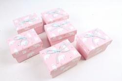 Набор одиночных подарочных коробок из 6 шт-  Прямоугольник Белые медведи на розовом   К522