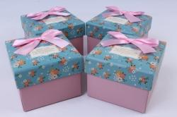 Набор одиночных подарочных коробок из 4 шт - Квадраты голубая крышка/розовые