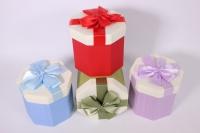 Набор одиночных подарочных коробок из 4шт - Шестигранник - Ассорти 12*12*11см