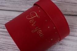 Набор одиночных подарочных коробок из 5шт - Цилиндр золотой горох красный d=13, h=12см В322