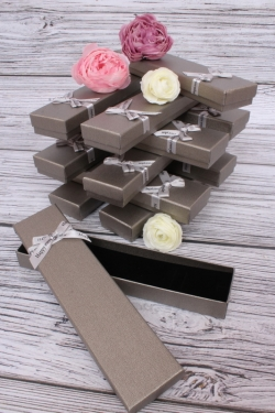 Набор одиночных подарочных коробок из 12шт - Пенал Серебро 4,5*20см h=2 10021-14