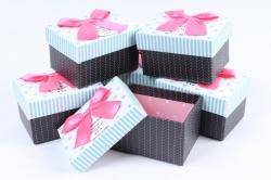 Набор одиночных подарочных коробок из 6шт - Прямоугольник Горох на белом   К71