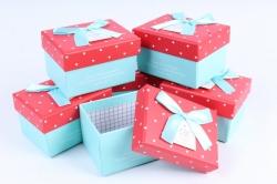 Набор одиночных подарочных коробок из 6шт - Прямоугольник Сердца на красном  К71