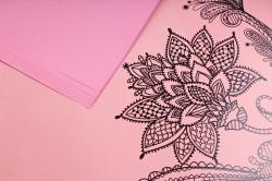"""Набор пленки матовой  """"Цветы"""" 10листов, 60см*60см (розовый пастель)"""