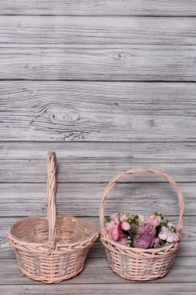 Набор плетенных корзин из 2шт (ива), D30x13/35 см   кремовый 7674М