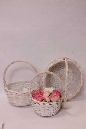 Набор плетенных корзин из 3шт (ива), D30x14,5/36 см  св-кремовый 7681М