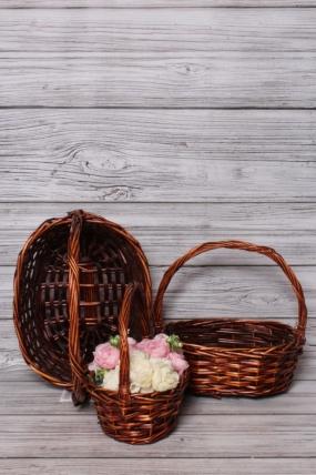 Набор плетенных корзин из 3шт (ива) -  37х29х13/37 см  коричневый 7575М