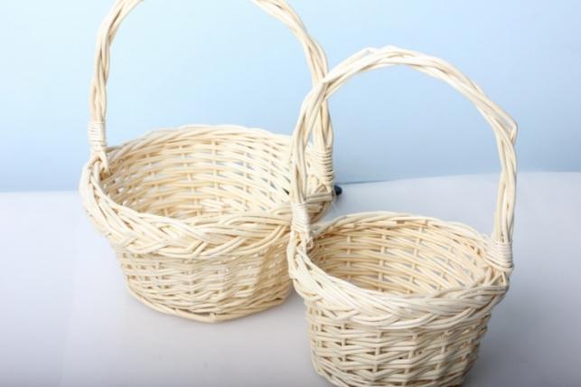 Набор плетеных корзин (2шт) Ива малая белая 2916