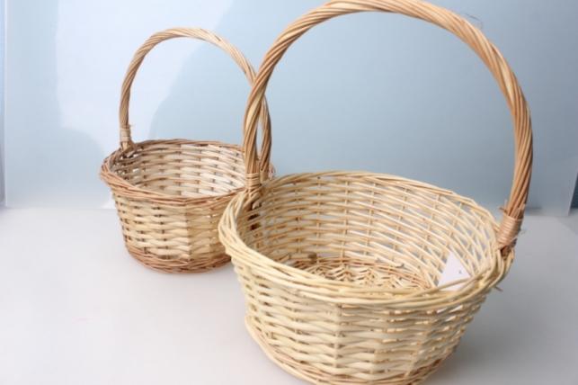 Набор плетеных корзин (2шт) ива натуральная d=29  h=12*27см 4811