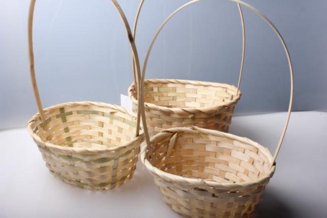Набор плетеных корзин (3шт) Натуральный, овал  5818 (бамбук)