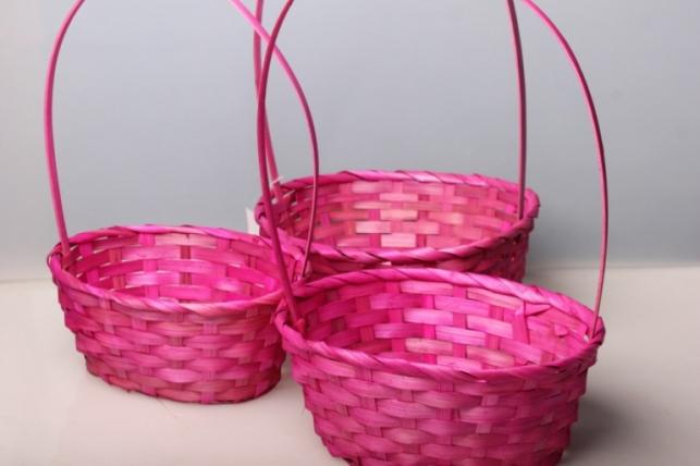 Набор плетеных корзин (3шт.) Разноразмерные (бамбук) овал розовый 5795.