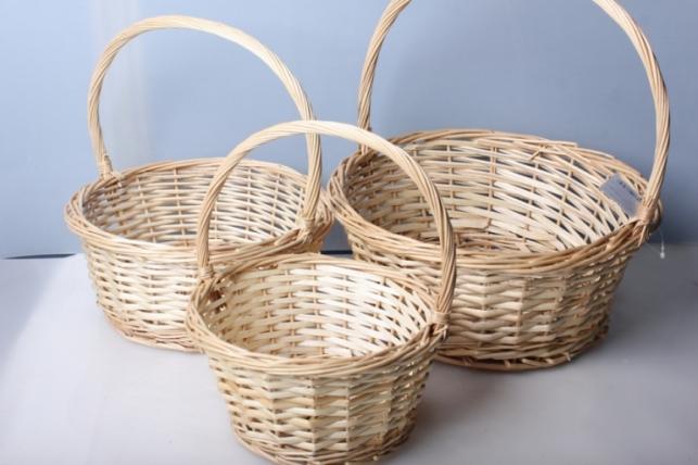 Набор плетеных корзин 3шт. Разноразмерные.(ива) d=29см/h=13,5/32см
