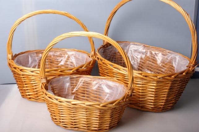 Набор плетеных корзин 3шт. Разноразмерные. Ива  медовая d=40х30  h=18х41см