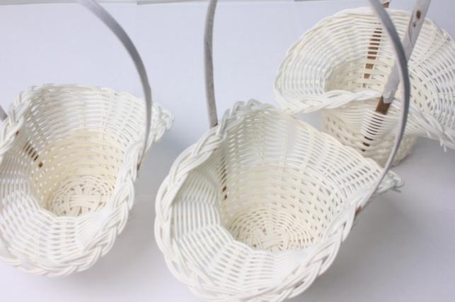 Набор плетеных корзин (3шт) Шляпа пластик белый  (d=19х13, h=10/26см)