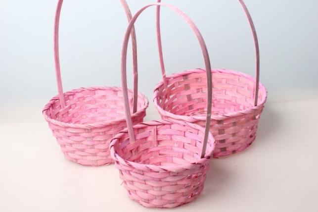 Набор плетеных корзин (бамбук) св. розовый, круг