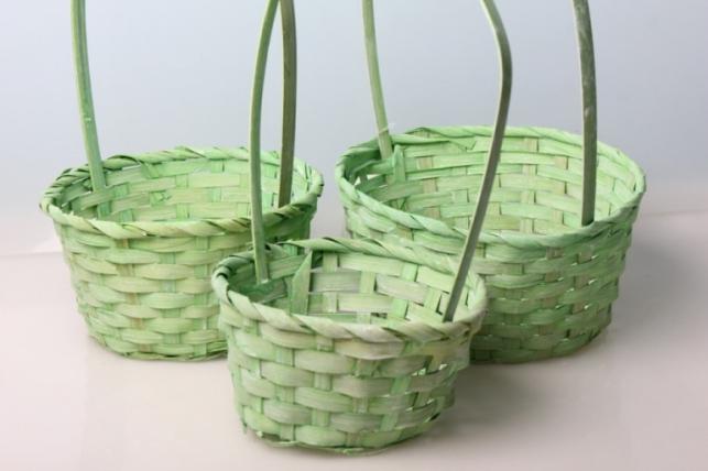 Набор плетеных корзин (бамбук) св. зеленый. d=16, h=10/32см