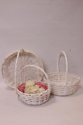Набор плетеных корзин (ива) из 3шт - Круг, белый 36*36*13*36см  6342Н