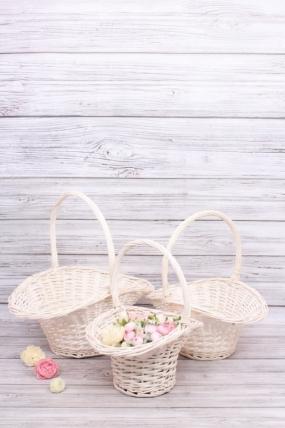 Набор плетеных корзин (ива) из 3шт - Круг 47*37*23*22*46CM  цвет белый 4065Н
