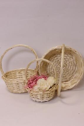 Набор плетеных корзин (ива) из 3шт - Круг натуральный 29*12*30, 23*11*26, 17*9*22см  7394Н