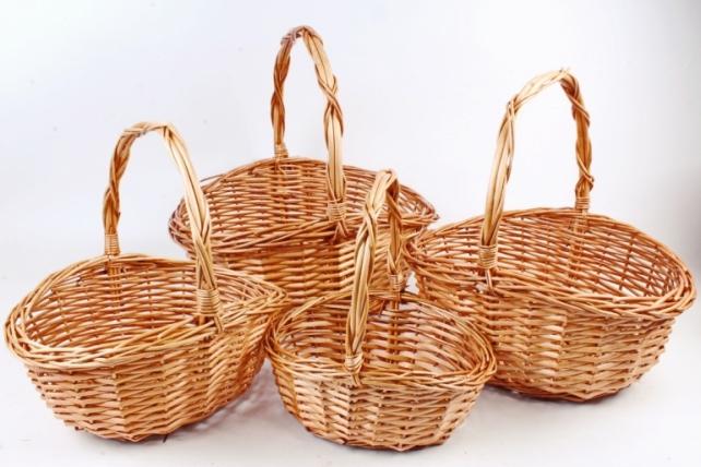 Набор плетеных корзин (ива) из 4шт - Овал медовый  7568 М
