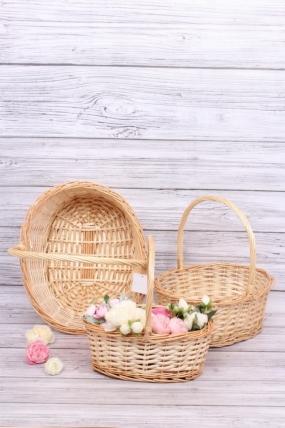 Набор плетеных корзин (ива) из 3шт - Овал 42*33*16*41см  натуральный 4089Н