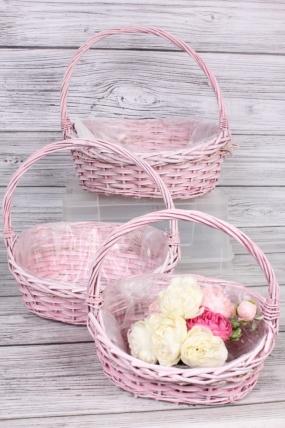 Набор плетеных корзин (ива) из 3шт -  37х30хH35,5 см, розовый 0147М