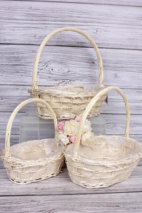 Набор плетеных корзин (ива) из 3шт -  36х30хH35,5 см, выбеленный 0161М