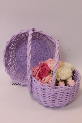 Набор плетеных корзин (ива) из 2шт -  Круг, сиреневый D24*13/26 см, D18*11/23 см 6489Н