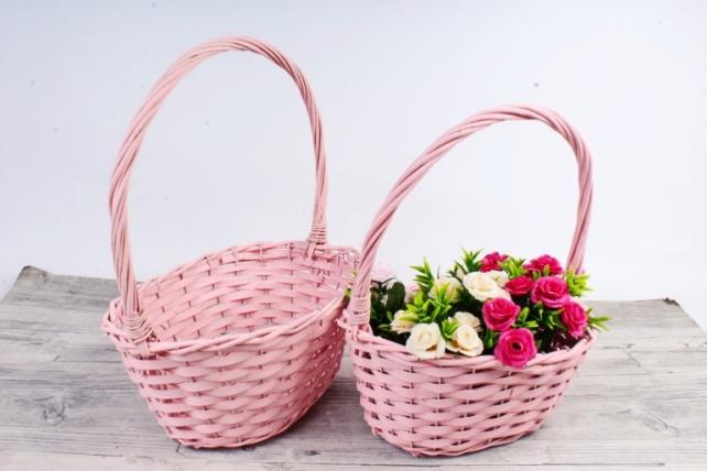 Набор плетеных корзин из 2 шт-(ива) - Овал розовый   КС-115