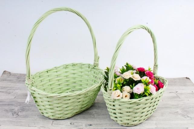 Набор плетеных корзин из 2 шт-(ива) - Овал салатовый   КС-115