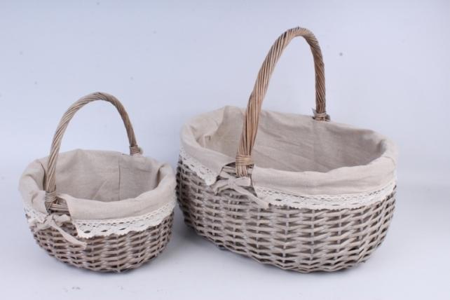 Набор плетеных корзин из 2 шт-(ива)  Овал с тканевой вставкой КС-336