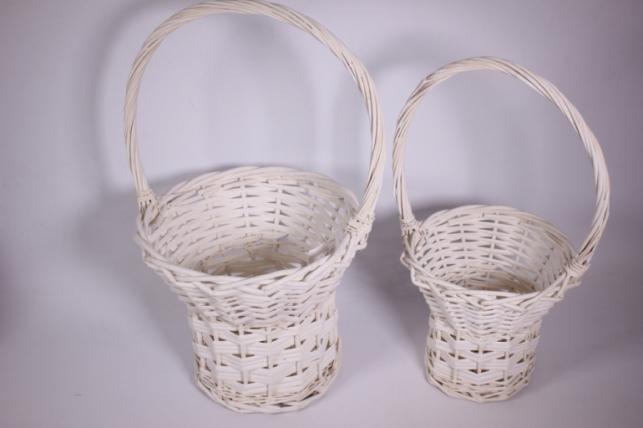 Набор плетеных корзин из 2шт - (ива) Круг на ножка белый d=25/25, h=20/43см (КС - 053)