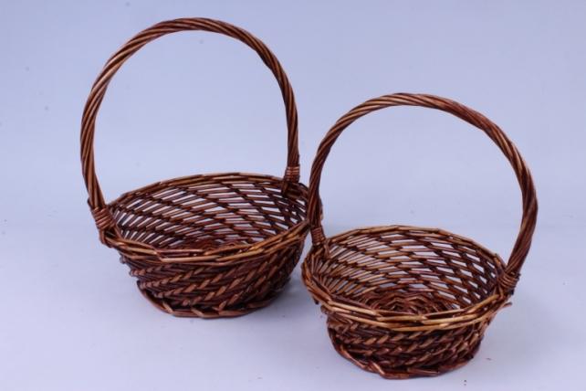 Набор плетеных корзин из 2шт-(ива) Круглая коричневая   КС-340/2,3