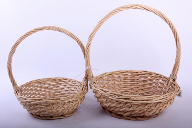 Набор плетеных корзин из 2шт - (ива) медовые d=29, h=10/33см (КС - 008)