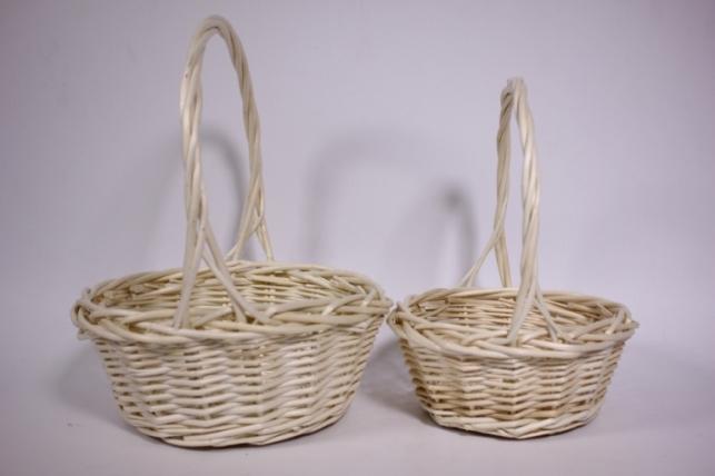 Набор плетеных корзин из 2шт - (ива) натурал. d=23/23, h=9/26см (КС - 047)