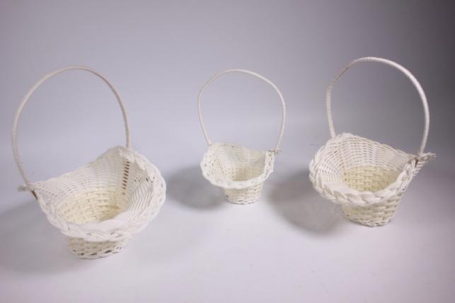 Набор плетёных корзин из 3х шт. (пластик) - Шляпа белая d=20х12, h=11х25см (YF3744)