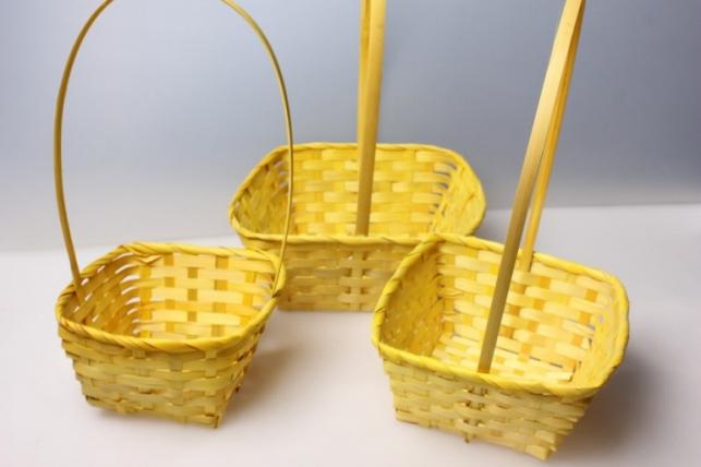 Набор плетеных корзин из 3шт. (бамбук) квадрат желтый  3838