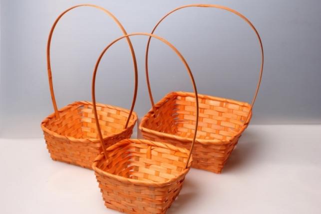 Набор плетеных корзин из 3шт. (бамбук) квадрат оранжевый 3845