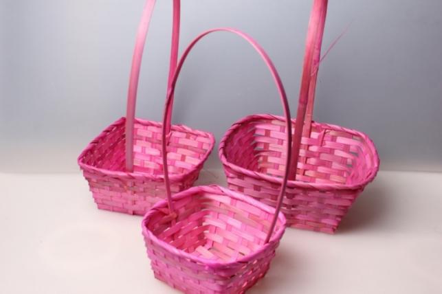 Набор плетеных корзин из 3шт. (бамбук) квадрат розовый 3852