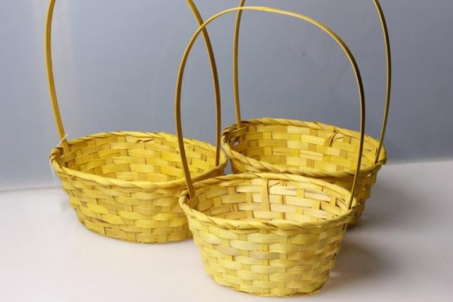 Набор плетеных корзин из 3шт. (бамбук) овал желтый 5801