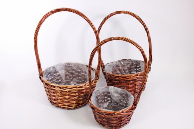 Набор плетеных корзин из 3шт (ива) d=29/29, h=13/35см (КС-342)