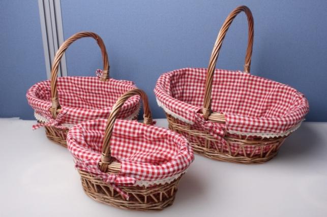 """Набор плетеных корзин из 3шт. """"Ива коричневая, овал с тканью(красная клеточка)""""  4538"""
