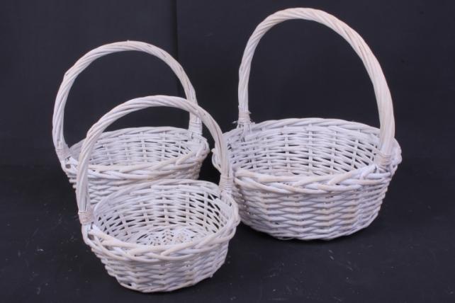 Набор плетеных корзин из 3шт-(ива)  Круг белёный  КС-314