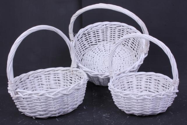 Набор плетеных корзин из 3шт-(ива)  Круг белый   КС-338