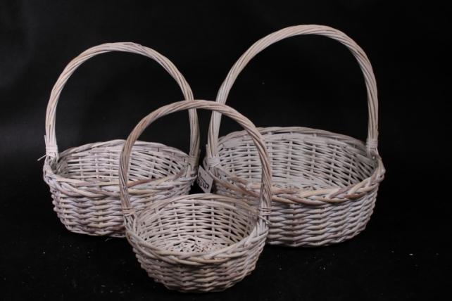 Набор плетеных корзин из 3шт-(ива) Круг белый   КС-380