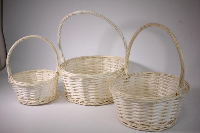 Набор плетеных корзин из 3шт (ива) Круг белыйd=35, h=15/39см (КС-050)