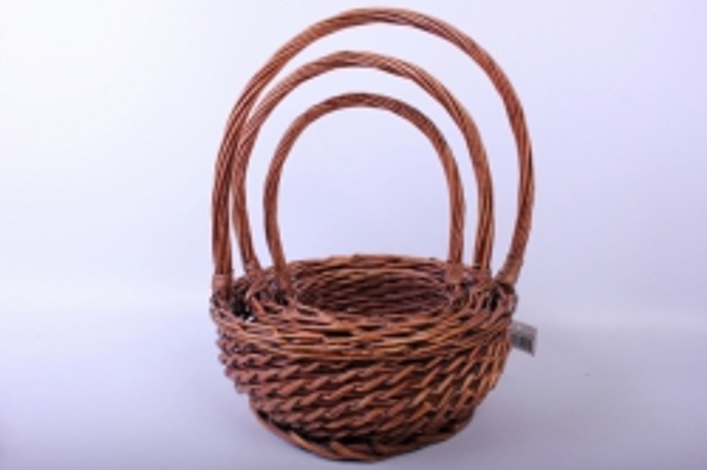 Набор плетеных корзин из 3шт - (ива) Круг коричнев. d=29/29, h=13/35см (КС - 032)